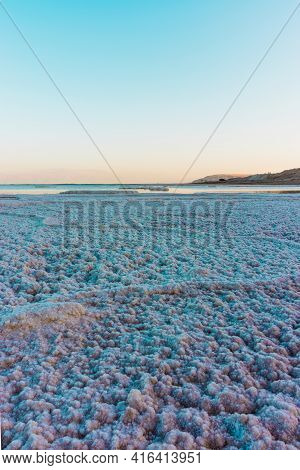 Texture Of Dead Sea Shore. Seascape In The Evening, Hdr . Israel