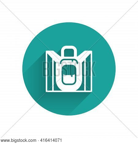 White Hiking Backpack Icon Isolated With Long Shadow. Camping And Mountain Exploring Backpack. Green