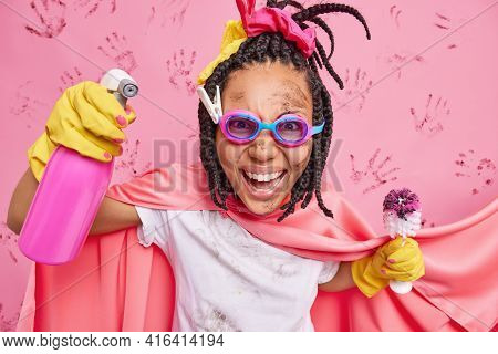 Happy Emotional Woman Cleaning Superhero Holds Chemical Spray Detergent And Dirty Brush Helps You Wi
