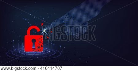 Cyber Attack Concept.padlock Red Destroyed On Dark Blue Background.cyber Crime Vector Illustration.a