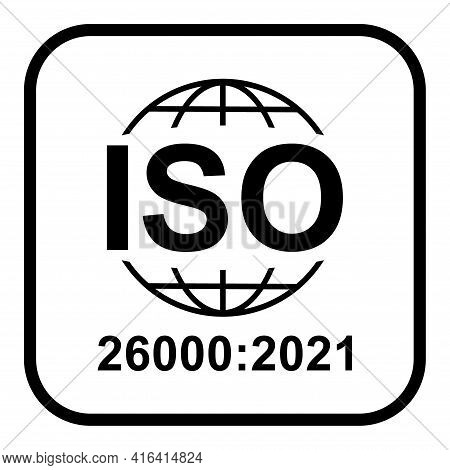 Iso 26000:2021 Icon. Social Responsibility. Standard Quality Symbol. Vector Button Sign Isolated On