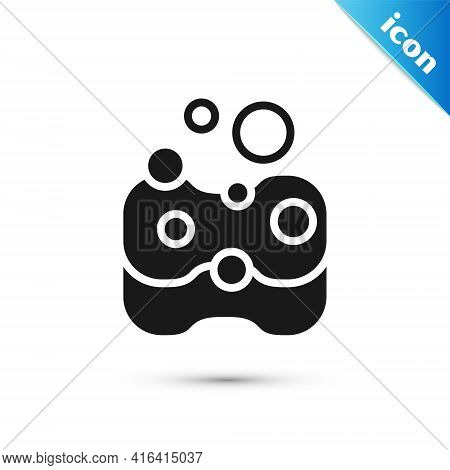 Grey Sponge Icon Isolated On White Background. Wisp Of Bast For Washing Dishes. Cleaning Service Con