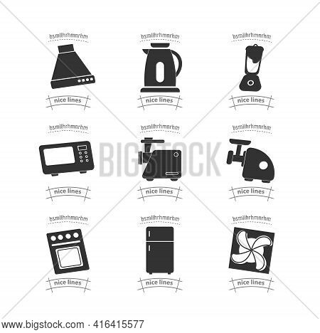 Kitchen Appliances Simple Vector Icon Set. Home Appliances Icon Set