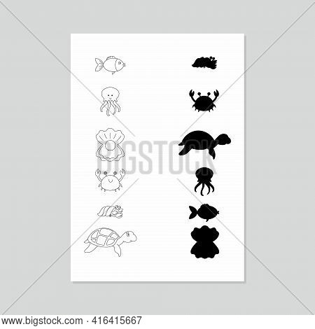 A Game For The Child To Find The Shadow. Drawing Of Fish And Sea Creatures And Their Shadows. Vector