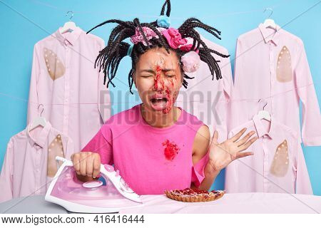 Frustrated Crying Young Woman Has Much Work About House Funny Hairstyle Dirty With Jam After Cooking