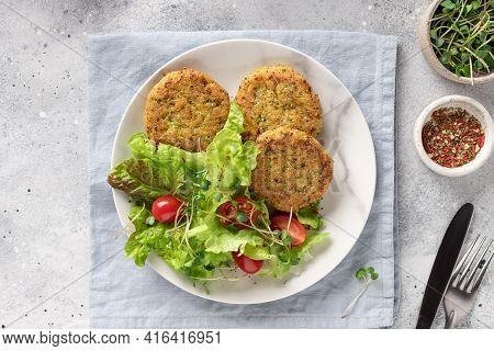 Broccoli And Quinoa Burgers. Table Setting