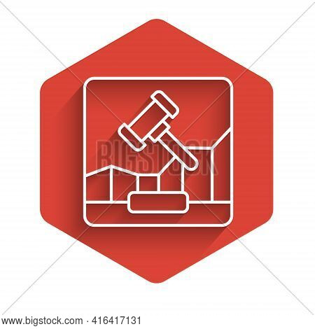White Line Online Internet Auction Icon Isolated With Long Shadow. International Trade Concept. Inve