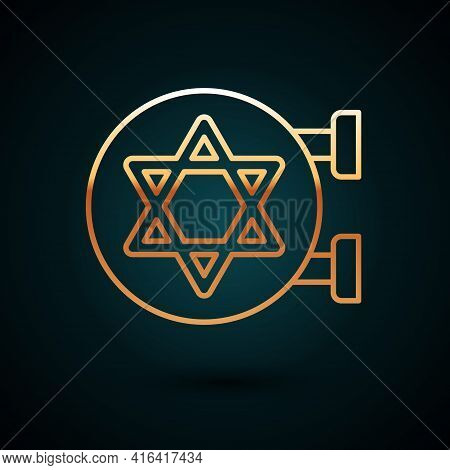 Gold Line Jewish Synagogue Building Or Jewish Temple Icon Isolated On Dark Blue Background. Hebrew O