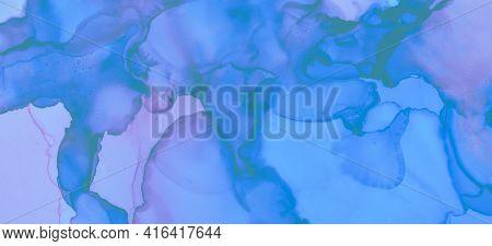 Pink Pastel Flow Splash. Watercolour Paint Background. Pastel Fluid Design. Fashion Ink Stains Marbl