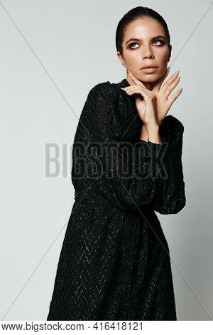Pretty Brunette Side Glance Black Dress Glamor Fashion