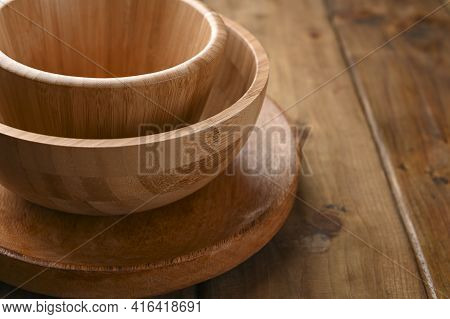 Bamboo Dishes, Wooden Dishes. Eco-friendly Choice And Nature Friendly. The Concept Of A World Withou