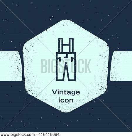 Grunge Line Pants With Suspenders Icon Isolated On Blue Background. Monochrome Vintage Drawing. Vect