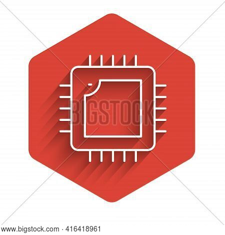 White Line Computer Processor With Microcircuits Cpu Icon Isolated With Long Shadow. Chip Or Cpu Wit