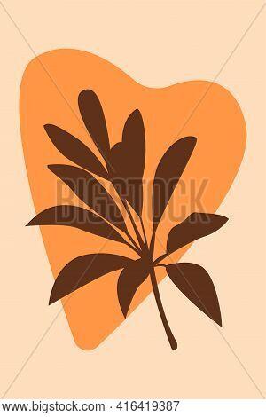 Plant Boho Pattern Background. Boho Minimalist Abstract Plant Illustration For Design Nursery Wall D