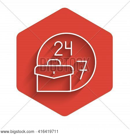 White Line Always Busy Icon Isolated With Long Shadow. Red Hexagon Button. Vector