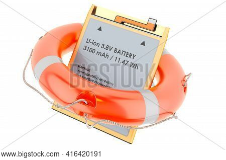 Lithium Ion Cell Phone Battery With Lifebelt, 3d Rendering Isolated On White Background