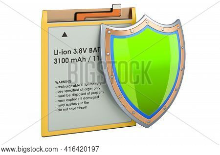 Lithium Ion Cell Phone Battery With Shield, 3d Rendering Isolated On White Background