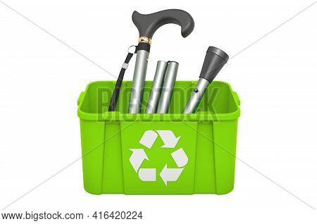 Recycling Trashcan With Folding Cane, 3d Rendering Isolated On White Background