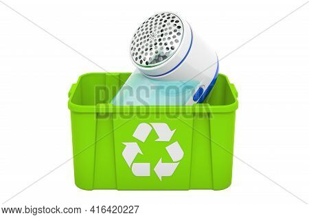 Recycling Trashcan With Lint Remover, Fabric Shaver. 3d Rendering Isolated On White Background