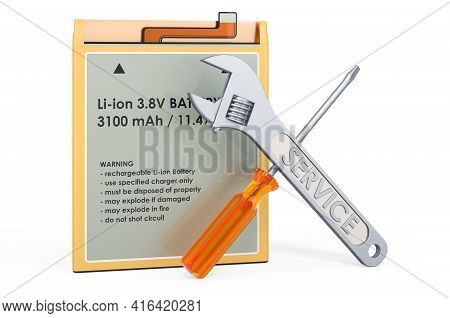 Service And Battery Replacement Of Lithium Ion Cell Phone Battery, 3d Rendering Isolated On White Ba