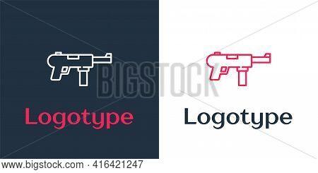 Logotype Line Submachine Gun M3, Grease Gun Icon Isolated On White Background. Logo Design Template