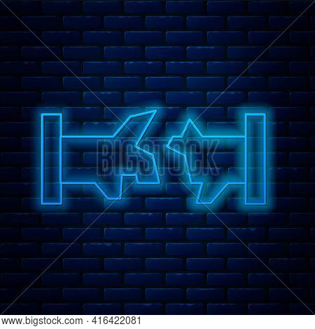 Glowing Neon Line Broken Metal Pipe With Leaking Water Icon Isolated On Brick Wall Background. Vecto