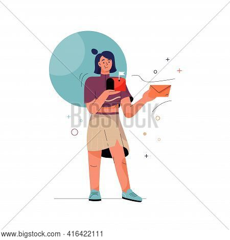 Check Email Concept. Woman Holding Letter In Envelope And Mailbox