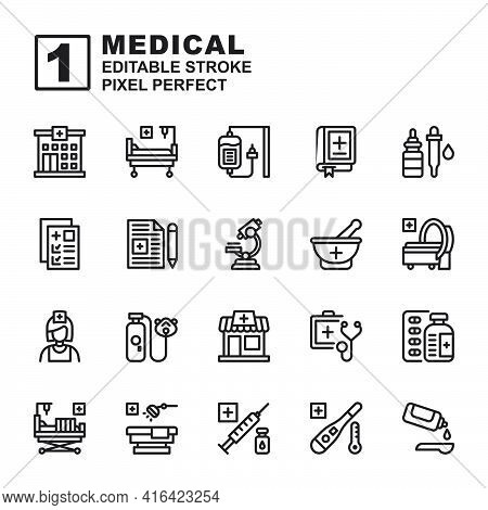 Icon Set Medical Made With Line Black Technique, Contains A Hospital, Bed, Stretcher, Pharmacy, Mri,