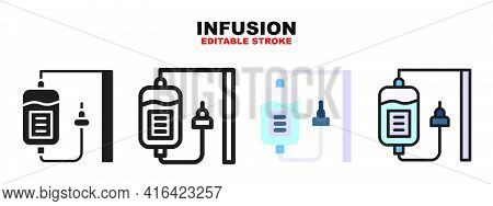 Infusion Icon Set With Different Styles. Icons Designed In Filled, Outline, Flat, Glyph And Line Col