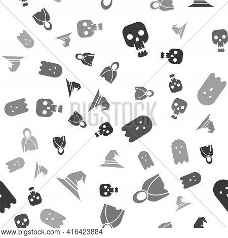 Set Skull, Mantle, Cloak, Cape, Ghost And Witch Hat On Seamless Pattern. Vector