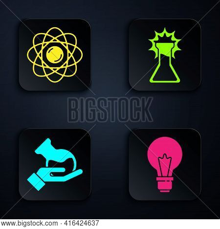 Set Light Bulb With Concept Of Idea, Atom, Test Tube And Flask And Test Tube And Flask. Black Square