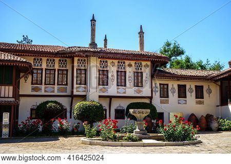 Residential Building Of Former Khan Palace In Bakhchisaray, Crimea. House Built In Traditional Crime