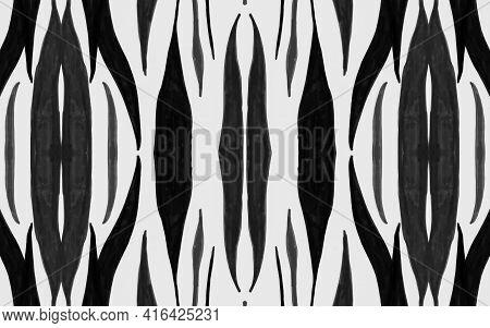 Seamless Zebra Pattern. Fashion Safari Design. Watercolour Tiger Fur. Gray Camouflage Background. Bl