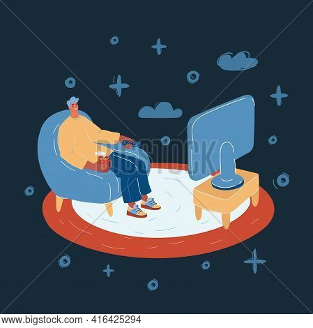 Illustration Of Online Tv. Man Sit On The Sofa And Watch Tv On Dark Backround.