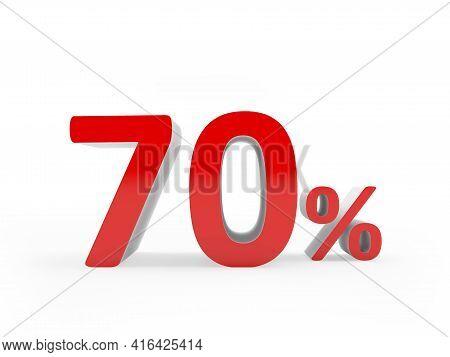 Red 70 Percent Sign On White. 3d Illustration