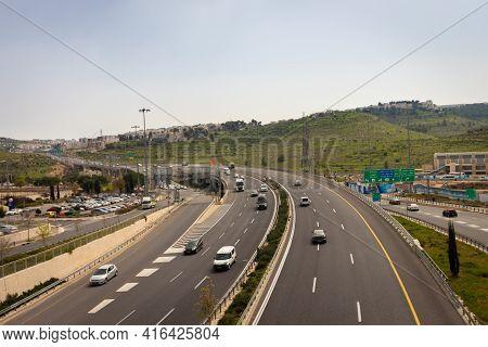 Jerusalem, Israel. 15-03-2021. Top View Of Begin Boulevard - Road No. 50, Near Teddy Stadium