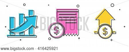 Set Financial Growth And Coin, Paper Check And Financial Check And Financial Growth And Coin Icon. V