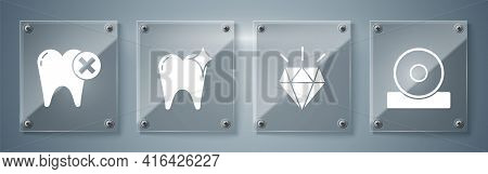Set Otolaryngological Head Reflector, Diamond Teeth, Tooth Whitening Concept And Tooth With Caries.