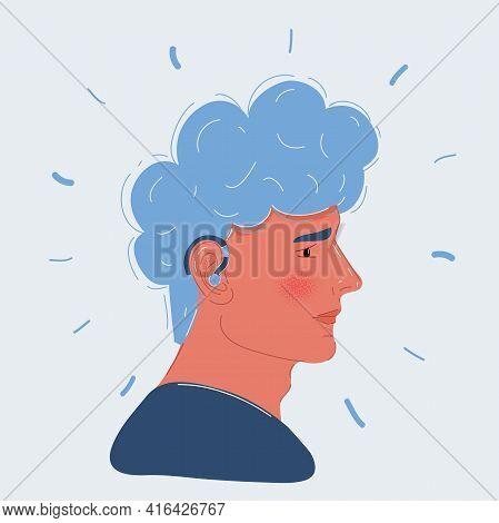 Illustration Of Hard Of Hearingman Visiting A Doctor. Vector Illustrations In Cartoon Style. Hearing