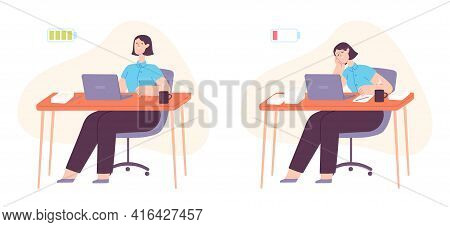 Burnout Office Worker. Exhausted Woman Working At Computer With Full And Empty Battery. Mental Stres