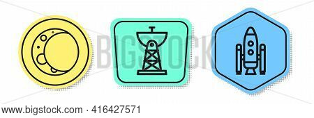 Set Line Moon, Satellite Dish And Space Shuttle And Rockets. Colored Shapes. Vector