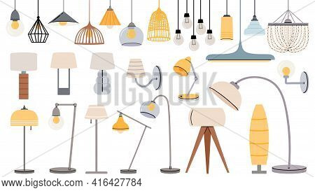 Cartoon Lamps. Cozy Flat Torcheres, Hanging Chandeliers And Lamp For Table, Floor. Home Illumination