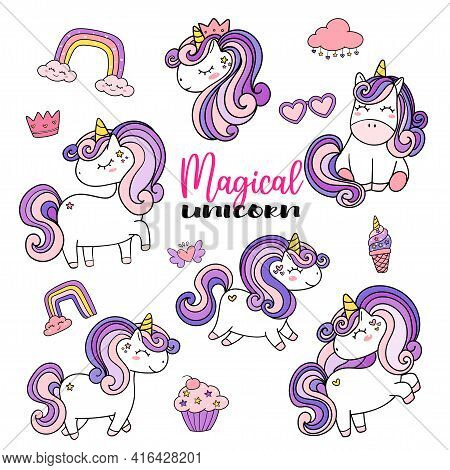Cute Unicorn Magical Purple Element Collection Set,...