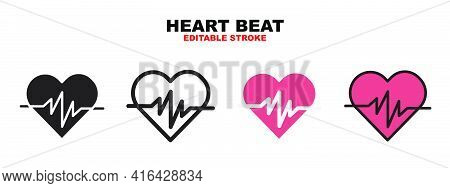 Heart Beat Icon Set With Different Styles. Icons Designed In Filled, Outline, Flat, Glyph And Line C