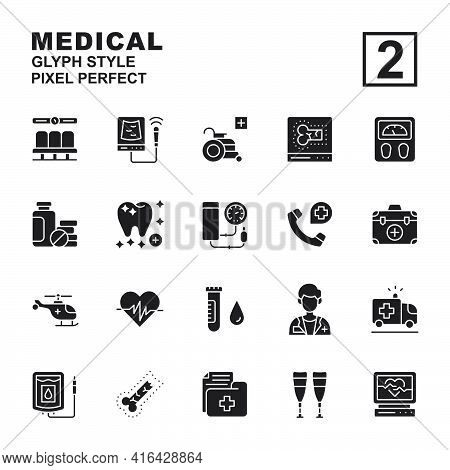 Icon Set Medical Made With Glyph Black Technique, Contains A Usg, Electrocardiogram, Dentist, Wheel