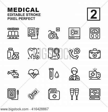 Icon Set Medical Made With Outline Black Technique, Contains A Usg, Electrocardiogram, Dentist, Whee