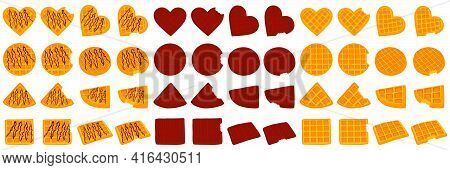 Illustration On Theme Big Kit Different Types Biscuit Waffle With Cell, Dessert Cookie. Waffle Consi