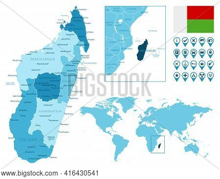 Madagascar Detailed Administrative Blue Map With Country Flag And Location On The World Map. Vector