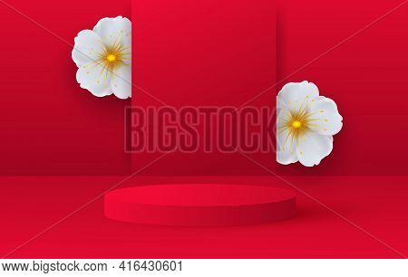 Minimalistic Scene With Red Cylindrical Podium And Spring Flowers. Scene For The Demonstration Of A
