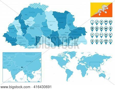 Bhutan Detailed Administrative Blue Map With Country Flag And Location On The World Map. Vector Illu